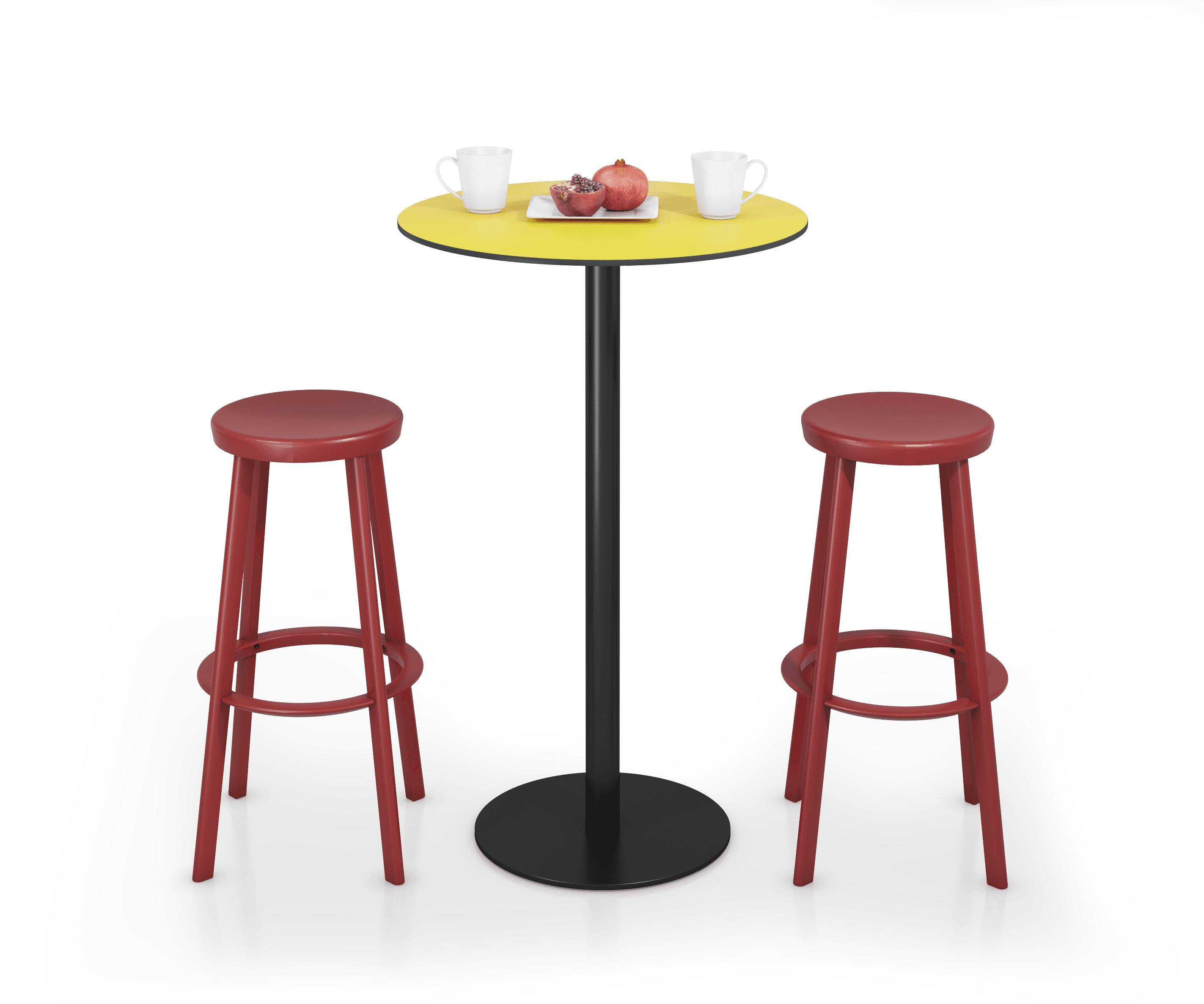 mesa-alta-amarilla-con-taburetes-rojos-compressor